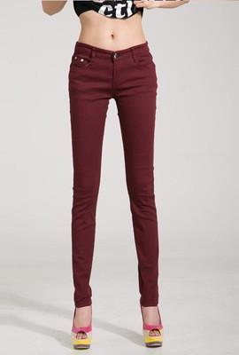 Women Skinny Jeans, Pencil Pants Size 25-31, Maroon-Women Pants-LeStyleParfait.Com