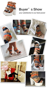 Women Sandals High Heels Buckle Gladiator Sandals Platform Shoes-Shoes-LeStyleParfait.Com