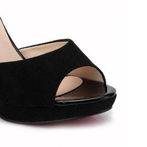 Women Shoes, High Heel Sandals, Slip On, Black, White-Shoes-LeStyleParfait.Com