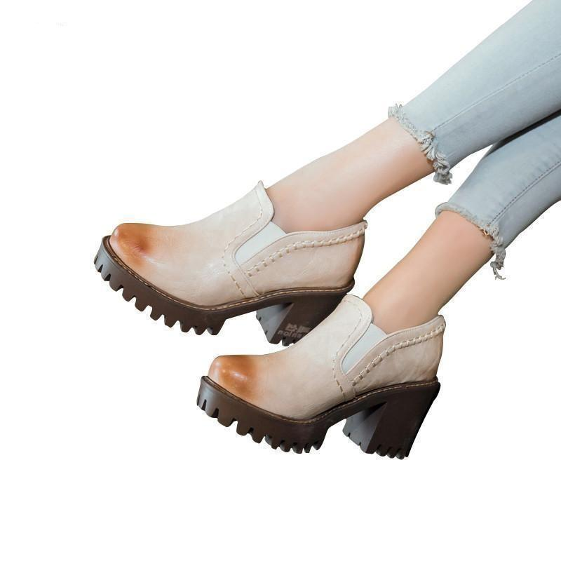 Women Shoes Round Toe Platform Pumps Square Heels-Shoes-LeStyleParfait.Com