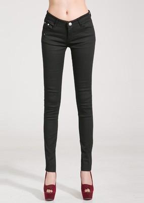 Women Skinny Jeans, Pencil Pants Size 25-31, Black-Women Pants-LeStyleParfait.Com