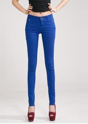 Women Skinny Jeans, Pencil Pants Size 25-31, Blue-Women Pants-LeStyleParfait.Com