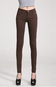 Women Skinny Jeans, Pencil Pants Size 25-31, Brown-Women Pants-LeStyleParfait.Com