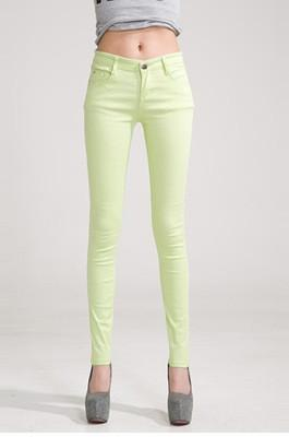 Women Skinny Jeans, Pencil Pants Size 25-31, Fruit Green-Women Pants-LeStyleParfait.Com