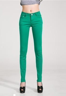 Women Skinny Jeans, Pencil Pants Size 25-31, Grass Green-Women Pants-LeStyleParfait.Com