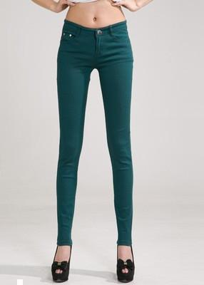 Women Skinny Jeans, Pencil Pants Size 25-31, Green-Women Pants-LeStyleParfait.Com