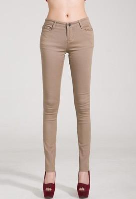 Women Skinny Jeans, Pencil Pants Size 25-31, Khaki-Women Pants-LeStyleParfait.Com
