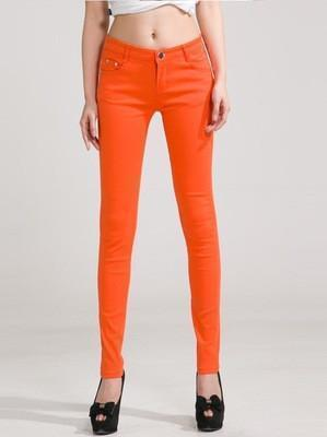 Women Skinny Jeans, Pencil Pants Size 25-31, Orange-Women Pants-LeStyleParfait.Com