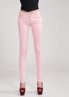 Women Skinny Jeans, Pencil Pants Size 25-31, Pink-Women Pants-LeStyleParfait.Com