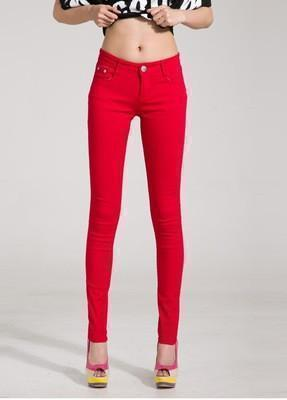 Women Skinny Jeans, Pencil Pants Size 26-31, Red-Women Pants-LeStyleParfait.Com