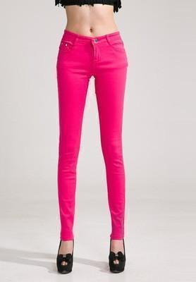 Women Skinny Jeans, Pencil Pants Size 26-31, Rose-Women Pants-LeStyleParfait.Com