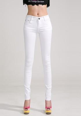 Women Skinny Jeans, Pencil Pants Size 26-31, White-Women Pants-LeStyleParfait.Com