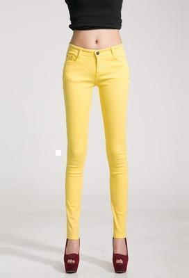 Women Skinny Jeans, Pencil Pants Size 26-31, Yellow-Women Pants-LeStyleParfait.Com