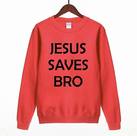 Women Sweatshirt Jesus Saves Bro Print Sweatshirt-Women Sweatshirt-LeStyleParfait.Com