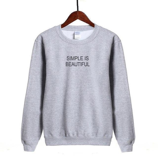 "Women Sweatshirt ""SIMPLE IS BEAUTIFUL"" Letter Print Sweatshirt-Women Sweatshirt-LeStyleParfait.Com"