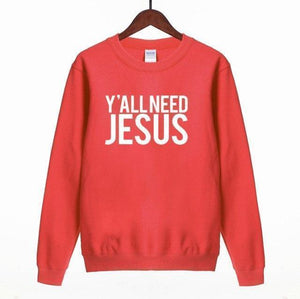 Women Sweatshirt Y'All Need Jesus Print Sweatshirt-Women Sweatshirt-LeStyleParfait.Com