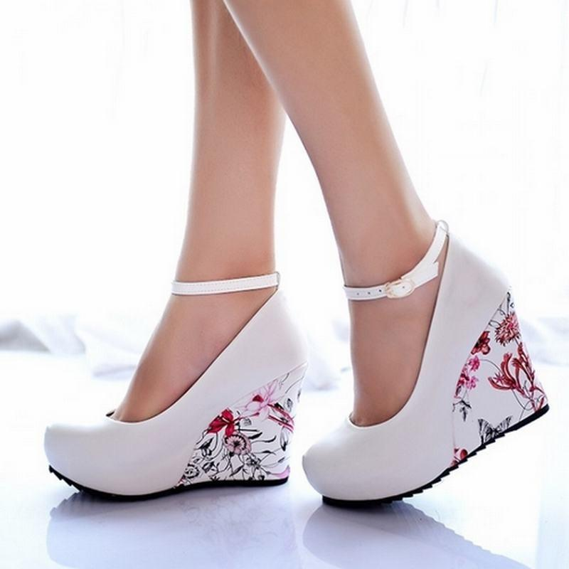 Women Wedge Shoes, Floral Print Wedges-Shoes-LeStyleParfait.Com