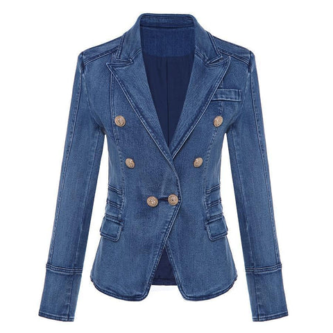 Women's Denim Blazer, Double Breast Blazer Blazer LeStyleParfait.Com Blue S