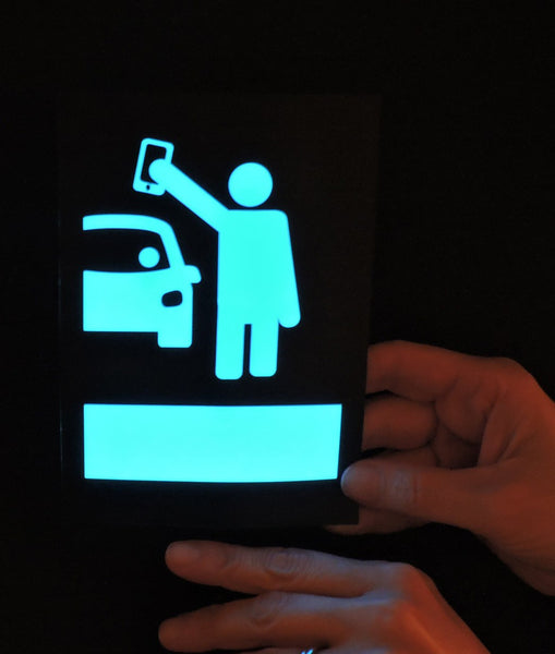Illuminated glowing blue rideshare light sign (for Uber, Lyft and other platforms)