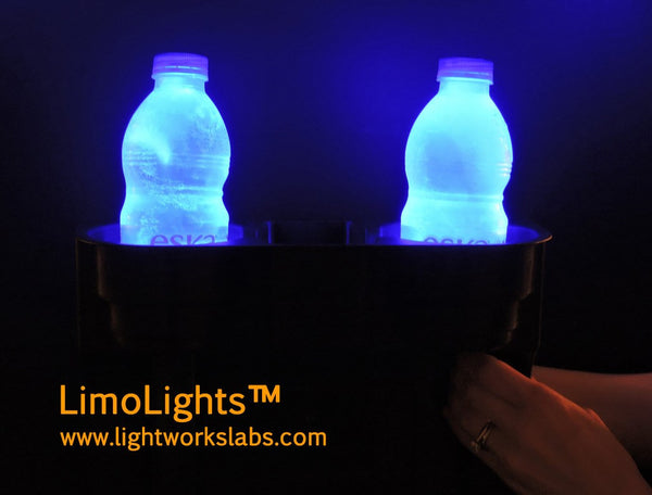 LimoLights™ beverage and snacks console / drink holder, with blue LED accent lighting