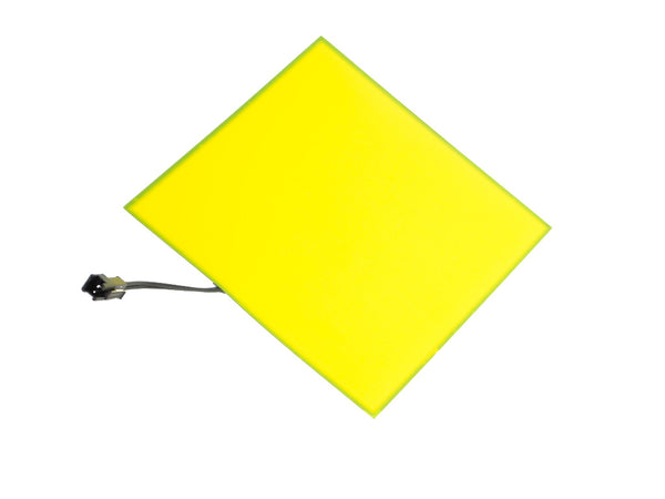 "Blank EL (electroluminescent) light panel: 5"" x 5"" yellow"