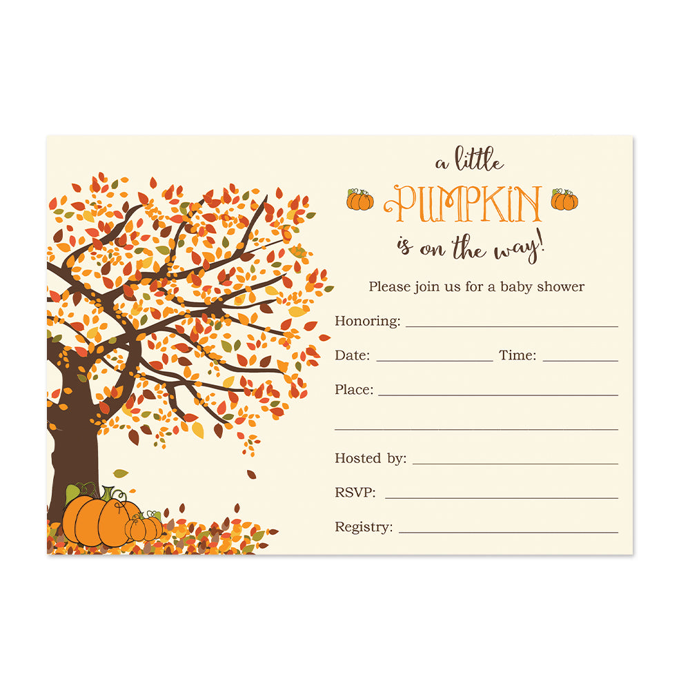 Little Pumpkin Baby Shower Invitations Fill In Style 20 Count ...