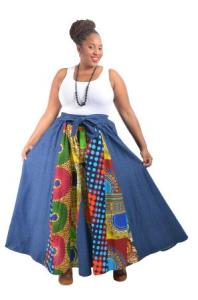 African Denim High Waist Skirt