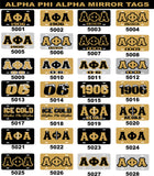 Alpha Phi Alpha Mirror Car Tag
