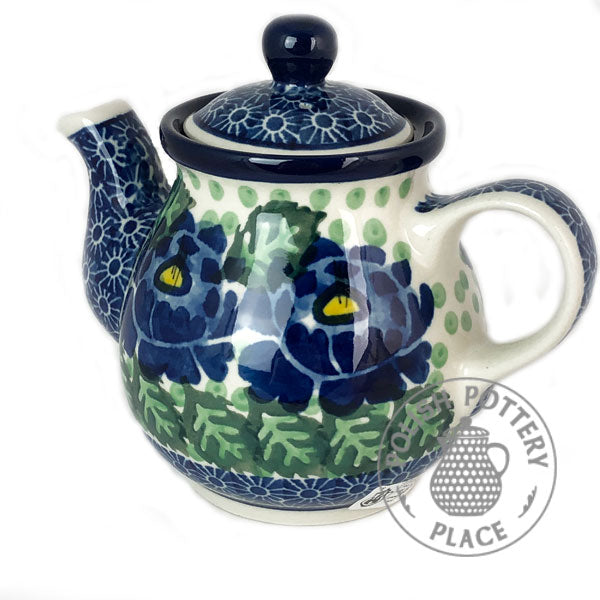 Teapot - 10 oz - Bright Blue Mums