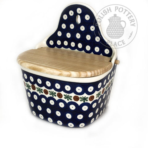 Salt Box with Lid - Polish Pottery