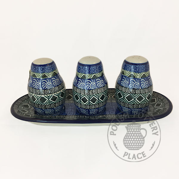 Salt, Pepper & Toothpick Holder Set - Polish Pottery