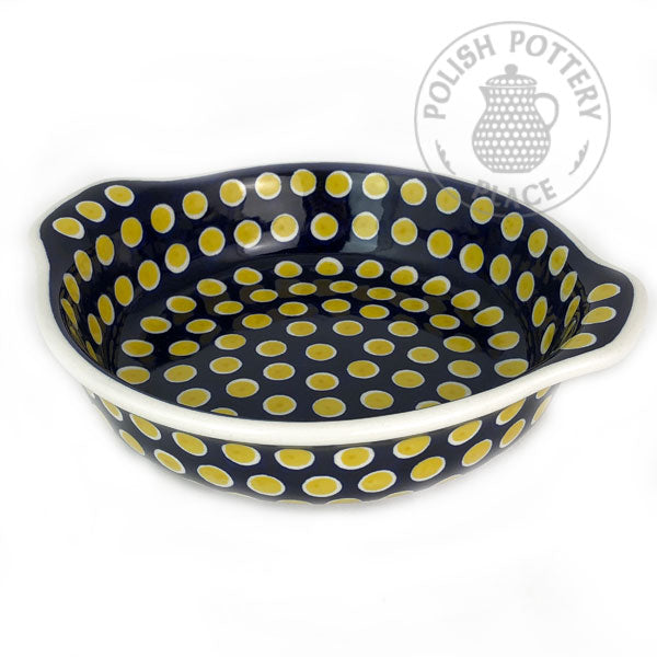 Round Baker with Handles - Yellow Polka Dots