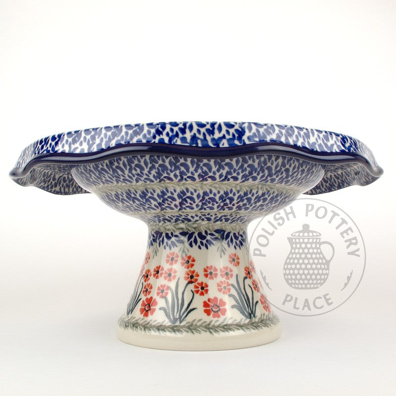 Fluted Cake Stand - Red Botanica