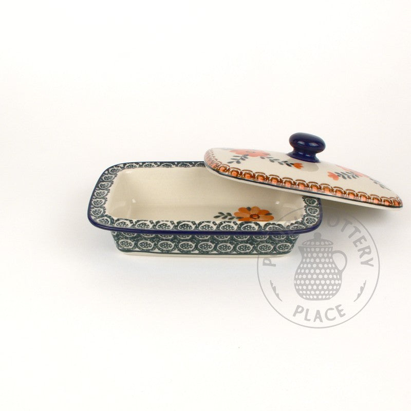 Butter Dish - Big Salmon Flowers
