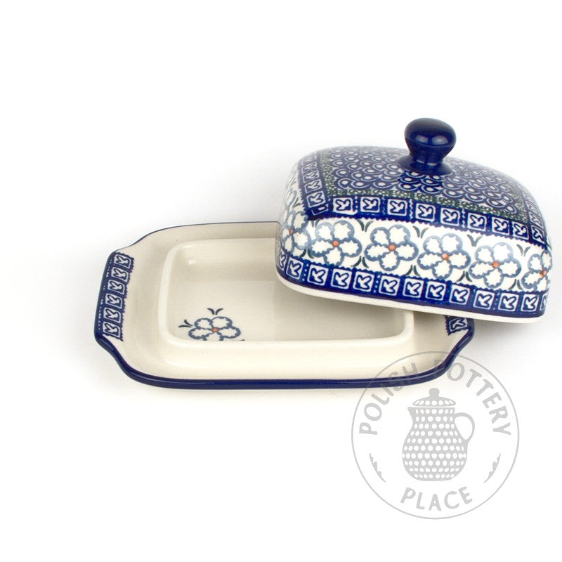 Large Butter Dish - Denim Flowers