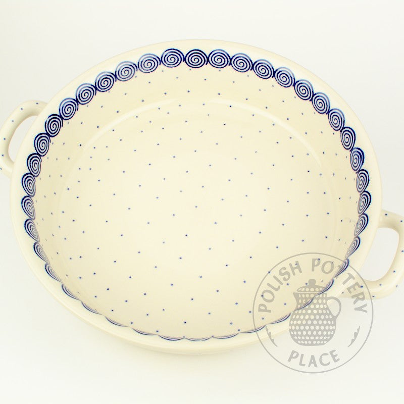 Large Round Baker with Handles - Blue Cinnamon
