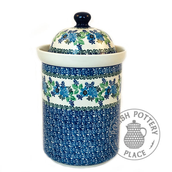 "Classic Canister - 11"" - Blue Wildflowers"