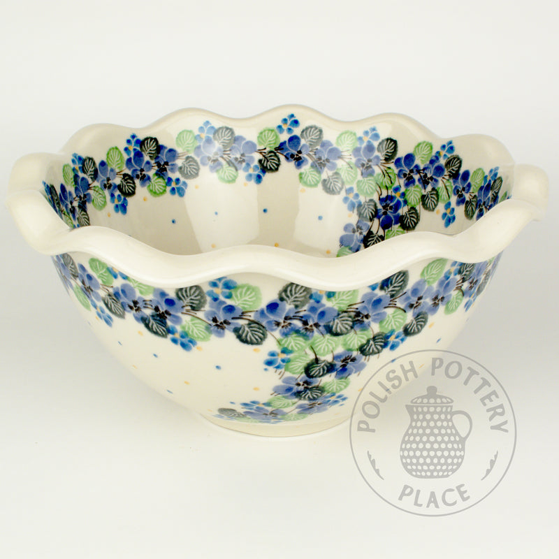 Fluted Bowl - Blue Pansies