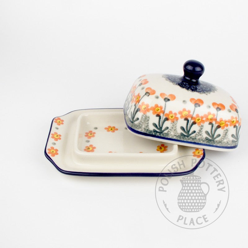 Small Butter Dish - Pink Flowers