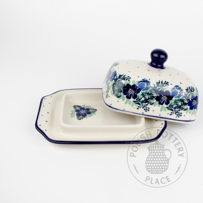Small Butter Dish - Blue Wreath