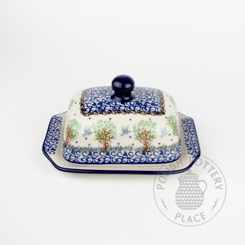 Small Butter Dish - Green Trees