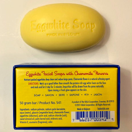 Eggwhite soap bar with rear packaging detail