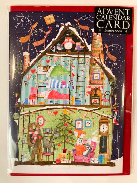Dollhouse advent calendar christmas card