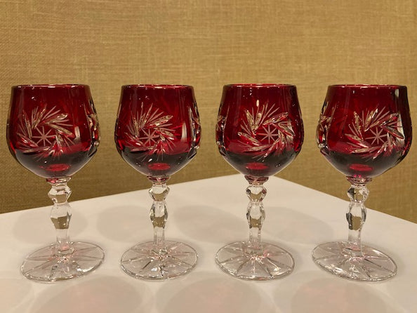 Set of Four Crystal Cordial Glasses - Burgundy