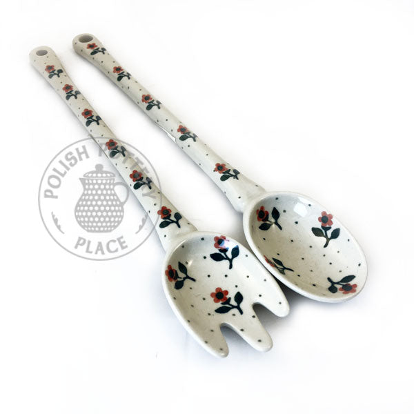 Salad Spoon and Fork Set - Polish Pottery