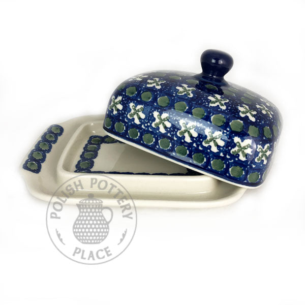 Large Butter Dish - Dots and Crosses