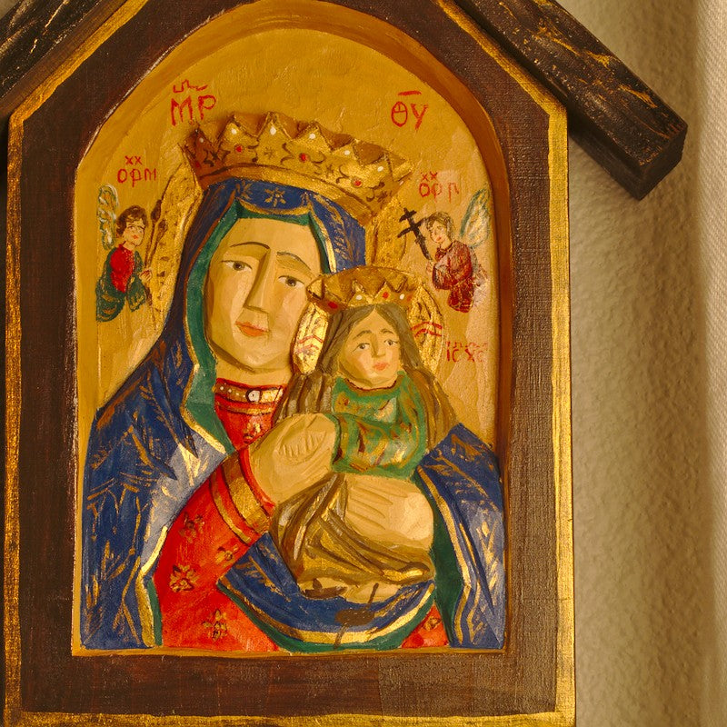 Seated Madonna and Child Painted Icon