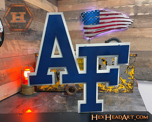 "Air Force Academy ""AF"" 3D Vintage Metal Wall Art"