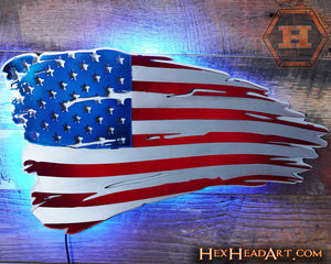 A Custom American Flag 3D Metal Artwork