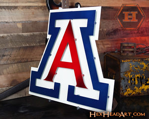 "Side image of an Arizona Wildcats  ""A"" 3D Artwork 21"" x 19"""